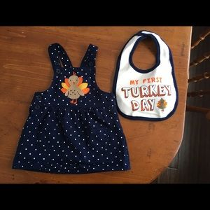 Carter's thanksgiving overall dress and bib